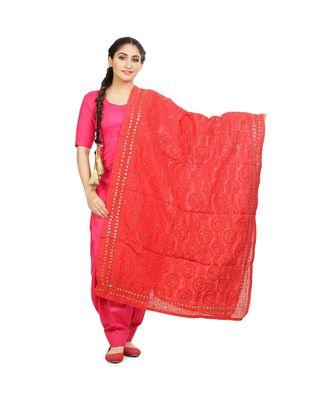Red Chanderi Phulkari Dupatta