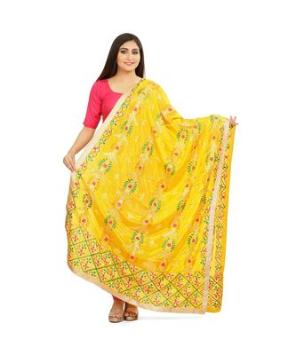 multicolor Phulkari Chunni With Gotta Patti Work