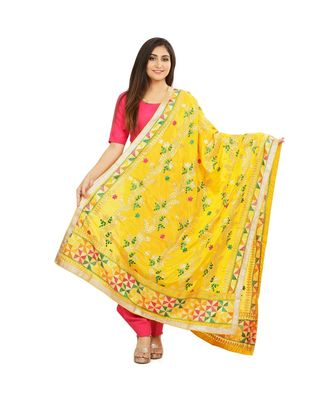 multicolor Phulkari Chunni With Gotta Patti Work