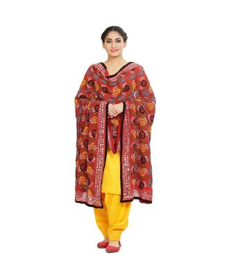 multicolor Heavy Embroidery Georgette Phulkari Dupatta