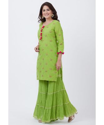Parrot Green Cotton Embroidered Kurti with Sharara