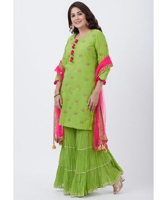 Parrot Green Cotton Embroidered Kurti with Sharara and Pink Net Dupatta