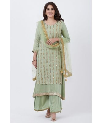 Dusty Green Georgette Double Layered Kurti with Palazzo and Net Mirror Dupatta