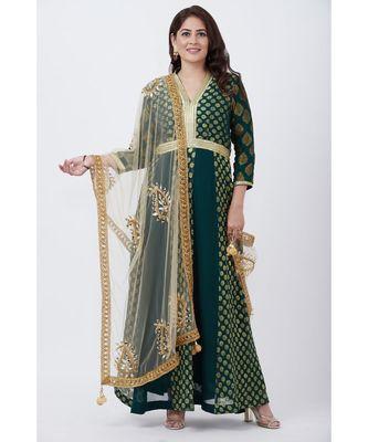 Green Banarsi Plunging Neckline Floor length Kurti with Gold Paisley Net Dupatta