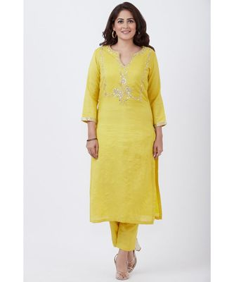 Lime Yellow Gotta Embroided kurti with Pants