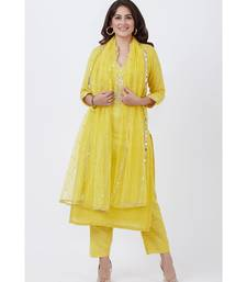 Lime Yellow Gotta Embroided kurti with Pants and Net Sequins Dupatta