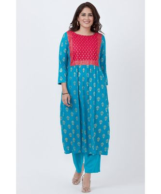 Teal Blue and Pink Khadhi Gathered Kurti with Pants