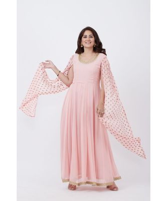 Blush Pink Embroidered Cape Sleeves Floorlength