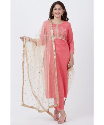 Peach Silk Embroiderd Straight Kurti with Pants and Gold Net Sequins Dupatta
