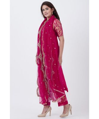 Magenta Georgette Brocade Kurti with Pants and Embroidered Net Dupatta
