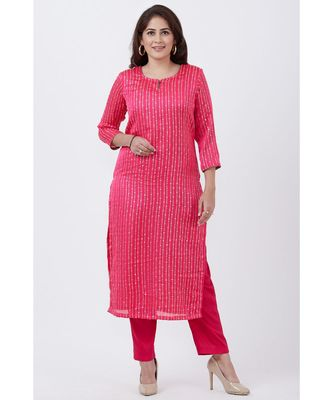 Magenta Foil Printed Straight Lines Kurti with Straight Pants