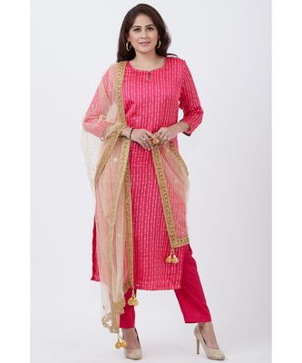 Magenta Foil Printed Straight Lines Kurti with Pants and Net Mirror Stone Dupatta