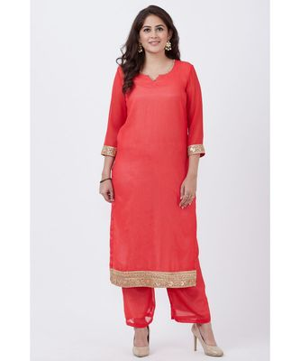 Carrot Pink Georgette Kurti with Pants