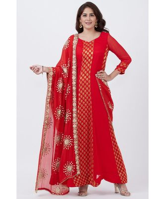 Red and Gold Banarsi Georgette Floorlength with Gotta Patti Chiffon Dupatta