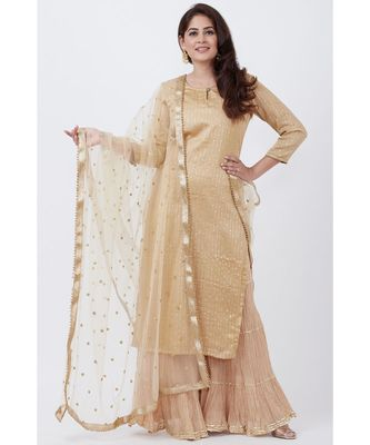 Gold Foil Printed Straight Lines Kurti with Sharara and Net Sequins Dupatta
