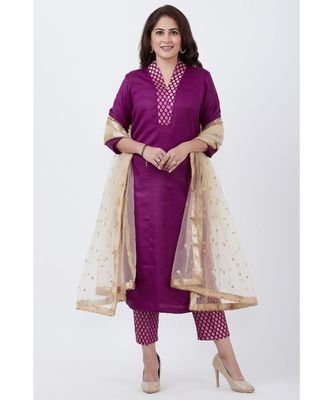 Purple Kurti and Brocade Straight Pants with Gold Net Sequins Dupatta