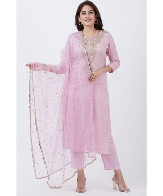 purple Badla Embroided Kurti with Straight Pants and Net Sequins Dupatta