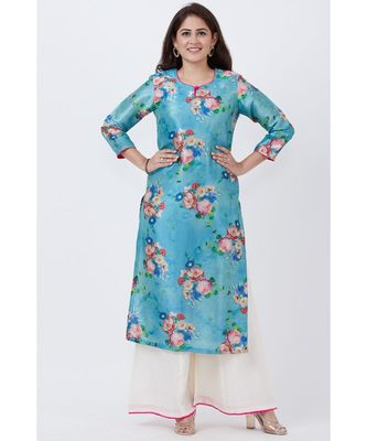Sea Blue Floral Straight Kurti with Flared Palazzo