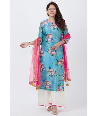 Sea Blue Floral Straight Kurti with Flared Palazzo and Pink Mirror Stone Dupatta
