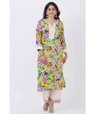 Yellow Floral Kurti with off white Foil Printed Palazzo