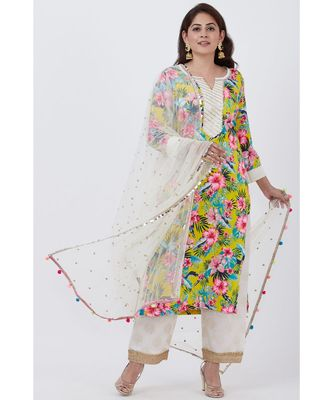 Yellow Floral Kurti with off white Foil Printed Palazzo and Net Sequins Dupatta