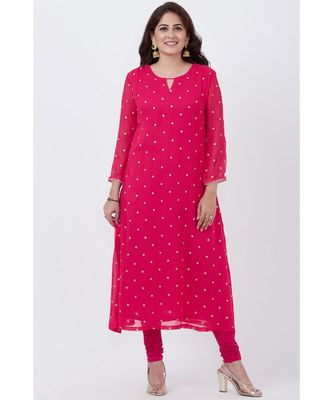pink Embroided A-line Kurti with Churidar