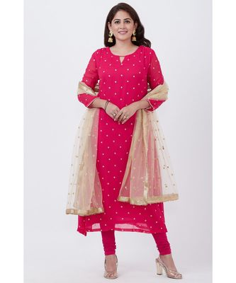 pink Embroided A-line Kurti with Churidar and Gold Net Sequence Dupatta