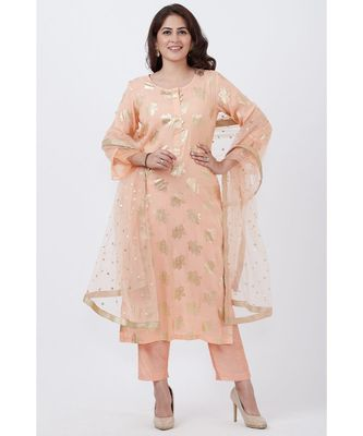 Peach Floral Foil Print Kurti with Straight Pants and Net Sequins Dupatta