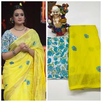 yellow Digital printed Linen partywear Bollywood saree with blouse