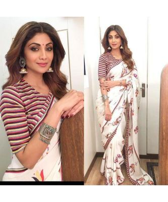off-white Digital Printed georgrtte Partywear Bollywood saree with blouse