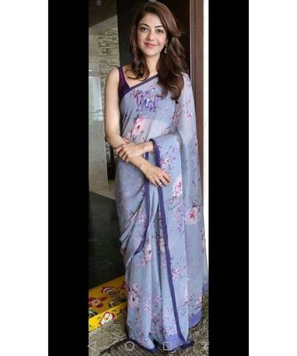 sky blue Digital printed georgette partywear Bollywood saree with blouse