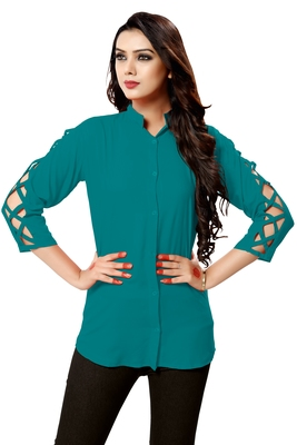 Turquoise plain cambric tops