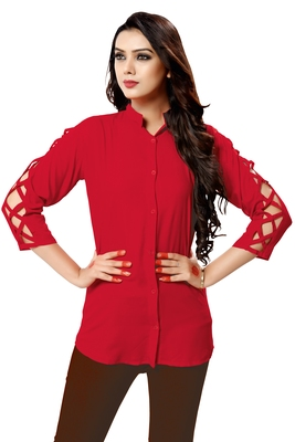 Red plain cambric tops