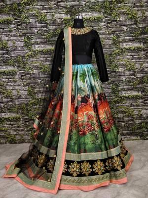 Multicolor printed silk semi stitched lehenga