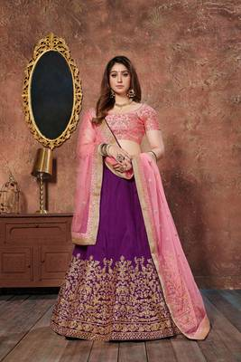 Purple thread embroidery silk semi stitched lehenga
