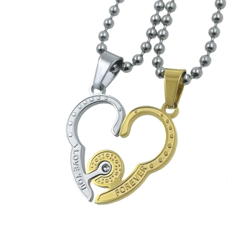 Saizen Stainless Steel Broken Heart-Shaped Locket Pendant With Chain For Unisex
