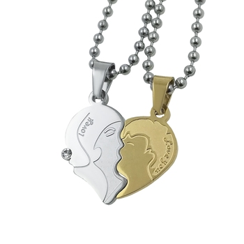 Saizen Stainless Steel Romantic Couple Kissing Necklace Valentine's Day Gift  Pendant With Chain