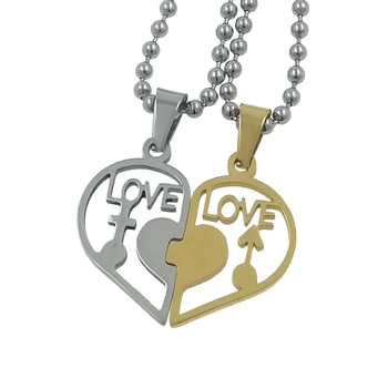 Saizen Love With Broken Hearth Valentine Day Gift Special Necklace Pendant With Chain Stainless Steel Pendant For Couple