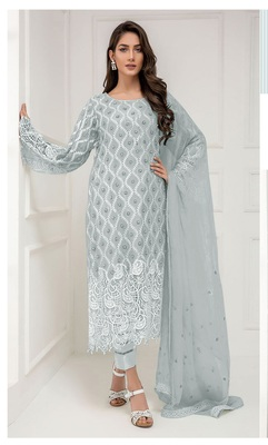 Grey embroidered net salwar