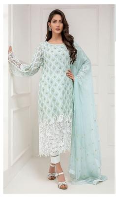 Light-turquoise embroidered net salwar