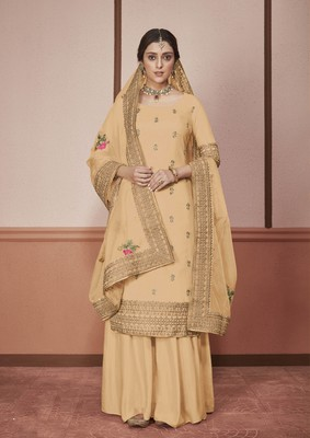 Cream embroidered silk salwar