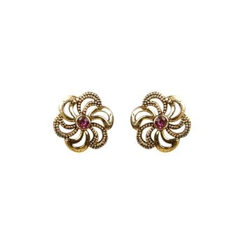 Graceful Pink Diamond Flower Stud Earrings