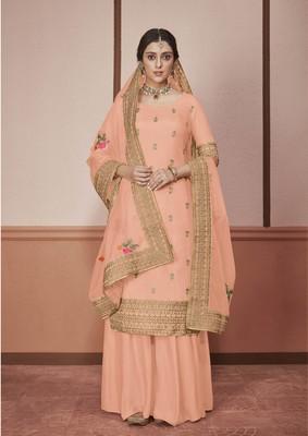 Light-orange embroidered silk salwar