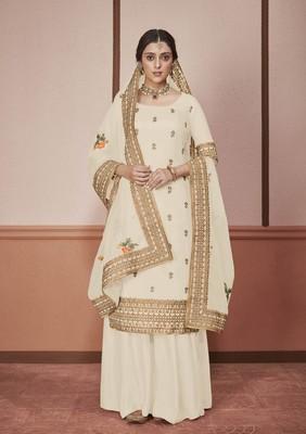 White embroidered silk salwar