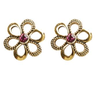 Trendy Pink Flower Stud Earrings