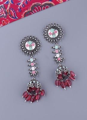 Bagh E Fiza Floral Chakra and Jhumka Drop Earrings