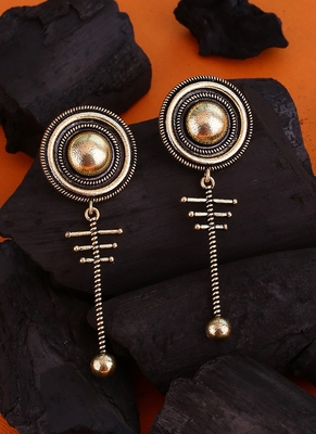 Baigani Circular Drop Brass Earrings