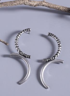 Aztec Bar Half Circle Earrings