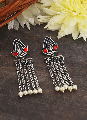 Apinaya Faux Pearls Adorned Drop Earrings