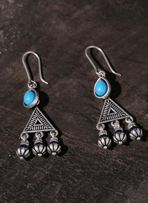 Moksha Triangles Blue Stone Earrings